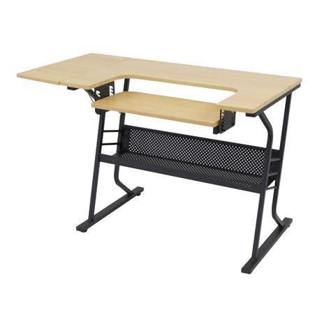 sewing machine table home black metal art craft shelves
