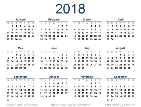 Calendario De 2018 Pdf 2018 Calendar Templates And Images