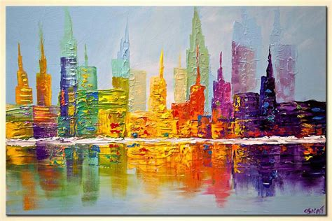 painting  sale colorful city art modern palette knife