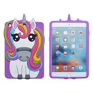 3d cartoon unicorn horse colorful silicone tablet case