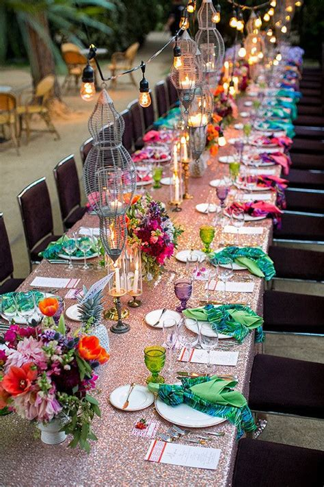 parker palm springs colorful wedding tablescape wedding party ideas  layer cake boho