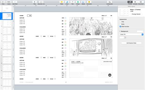 Apple Keynote Themes For Storyboards Presentations Film Storyboards Keynote Storyboard Template