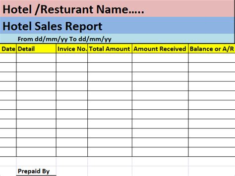 Hotel Report Template hotel sales report template free report templates