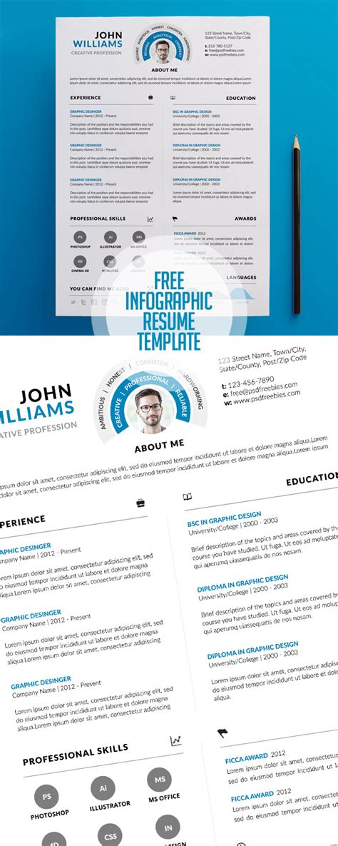 infographic resume template download free sample cover lovely