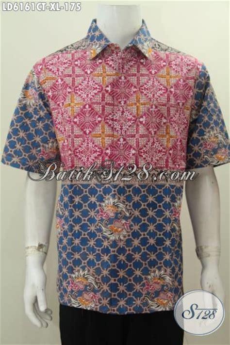 Baju Batik Warna Biru Muda hem batik kombinasi warna merah muda dan biru baju batik lengan pendek dengan desain atraktif
