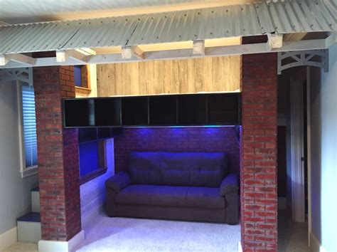 baseball beds baseball dugout loft bed faux brick walls and columns with