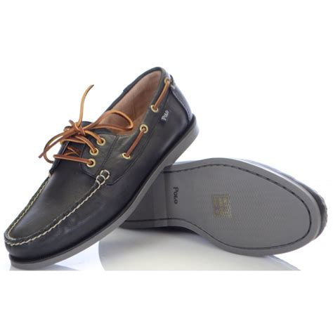 ralph shoes ralph shoes black embossed leather boat shoe