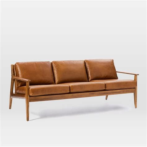 mathias mid century wood frame leather sofa 82 5 quot west elm