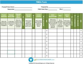 process fmea template failure modes effects analysis fmea template exle
