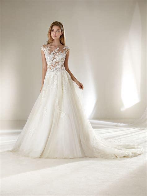 pronovias wedding dresses and cocktail dresses ofelia wedding dress with floral motifs for petite brides