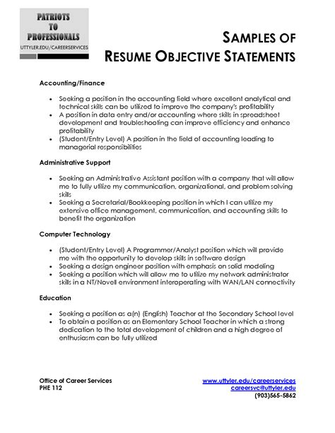 entry level objective statement exles resume exles templates basic resume objective