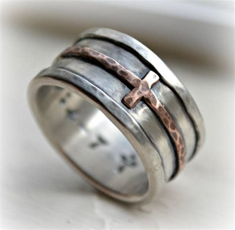Crossed Ring mens cross wedding band rustic hammered cross ring