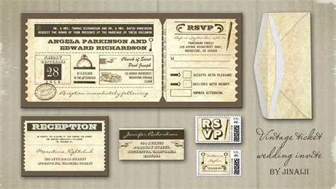 retro ticket place card template read more vintage wedding tickets invitations wedding