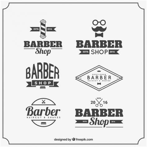 Barber Logo Templates With Vintage Typography Vector Free Download Free Barber Shop Website Template