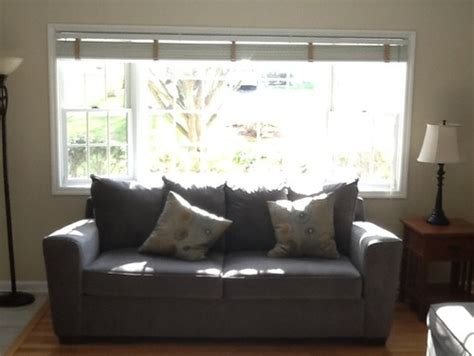 sofa in bay window windows treatment options for bay window sofa in front