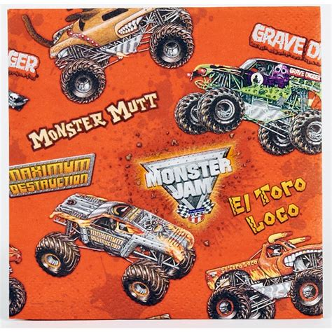 monster truck jam party supplies monster jam 3d beverage napkins this party started