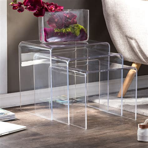 acrylic nesting table  pc table set display stands wholesale interiors