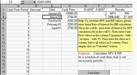 npv excel template npv irr excel template for periodic flows