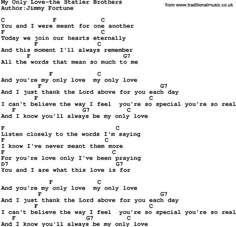 lyrics and country my only the statler brothers lyrics and