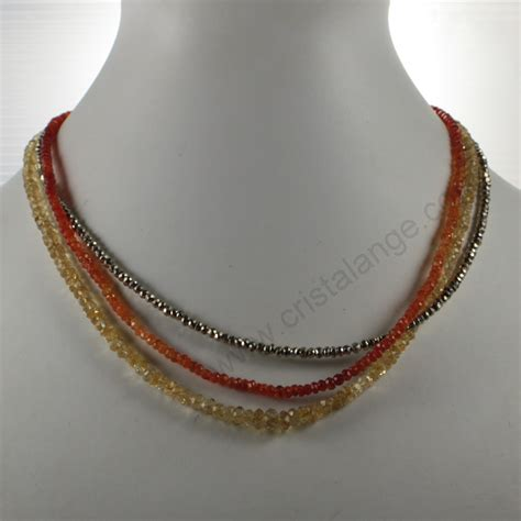 Colliers pyrite, cornaline & citrine   bijoux pierres lithotherapie   bijou pierres semi precieuses