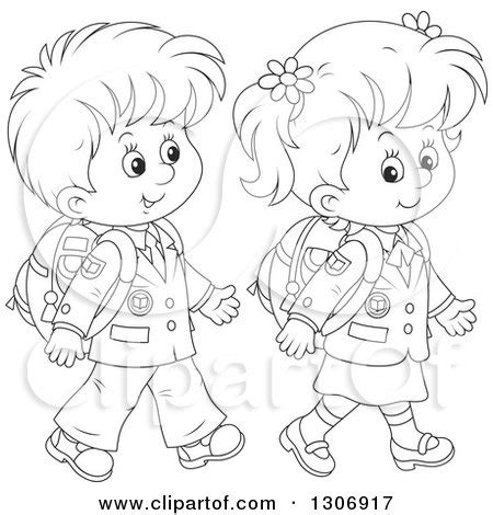 Environmental Outline School by Lineart Clipart Of Black And White Happy School Children Walking Royalty Free Outline