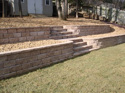 backyard rock wall stone walls outdoor steps pinterest
