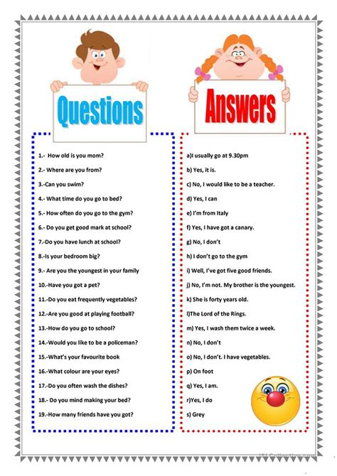 Questions About Resources You Must The Answers To by 50 Free Esl Questions And Answers Worksheets