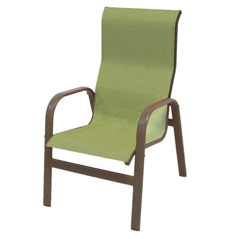 Stackable Patio Chair Hton Bay Mix And Match Stackable Sling Outdoor Dining Chair In Cafe Fcs00015j W The Home Depot