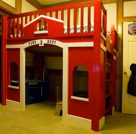 Firehouse Bunk Bed Firehouse Loft Bed Plans By White Child S Play Loft Beds Beds And Kid
