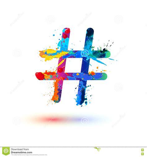 art design hashtags hashtag sign of splash paint stock vector image 80216853