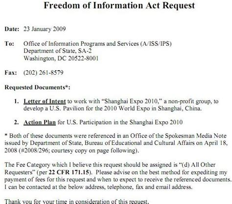 foia request template 18 june 2009 shanghai scrap