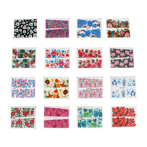 pattern stickers for nails 50 sheets mixed flower pattern stickers diy water transfer
