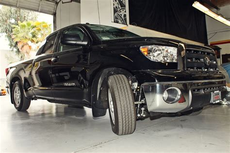 toyota lowering kit 2013 toyota tundra lowering kit installed stillen garage