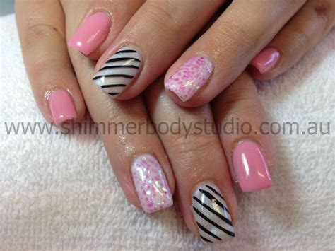 Painted Nail by Gel Nails Pink Nails Glitter Nails Featre Nails Lolly