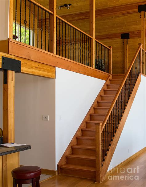 Cottage Staircase by Cottage Interior With Wooden Staircase Leading To The Loft