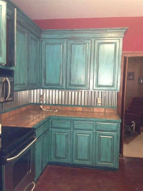 corrugated metal backsplash teal kitchen cabinets home teal kitchen corrugated metal and cabinets