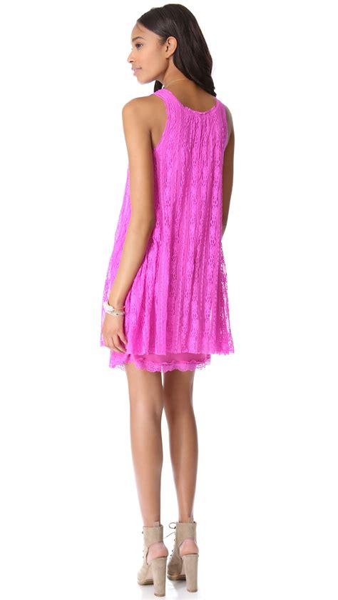 free people lace swing dress lyst free people lace swing dress in pink