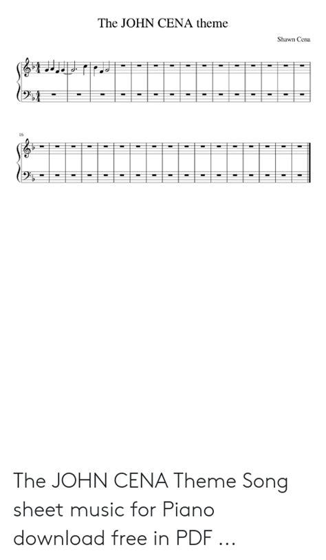 John Cena Theme Song Piano Sheet Music - Best Music Sheet
