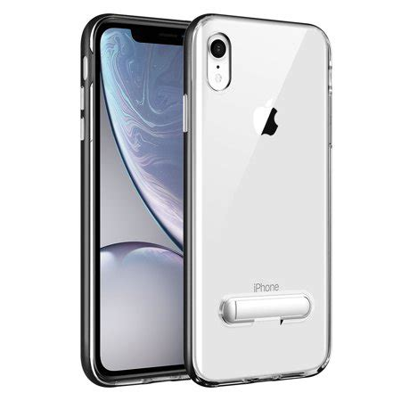 iphone xr slim transparent with tpu frame and built in kickstand for apple iphone xr by