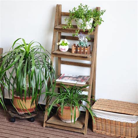 ladder design wooden plant rack flower planter shelf
