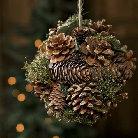 Natural Pinecone Kissing Ball with Greenery   Holiday