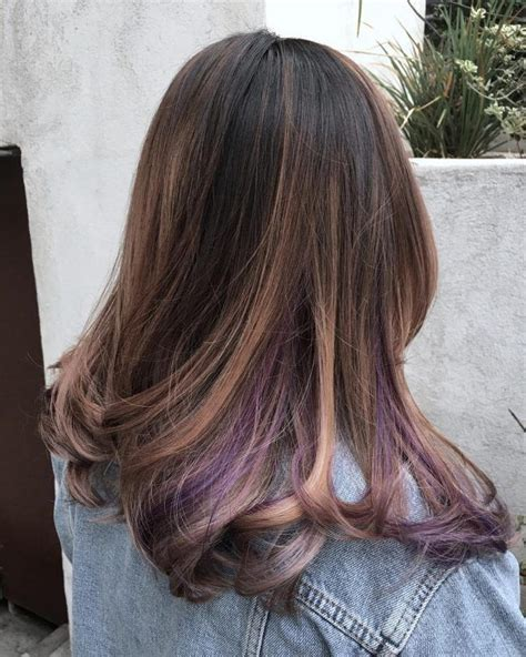 lilac higlights balayage with lilac peek a boos hair pinterest best