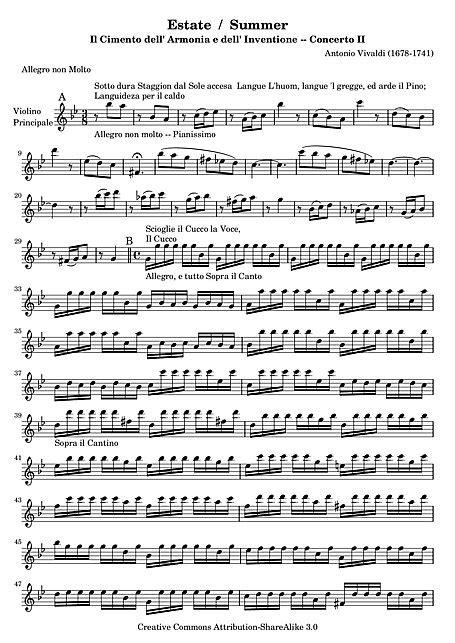 "Été (Concerto No. 2 ""L'estate"") Solo violin - Violon"