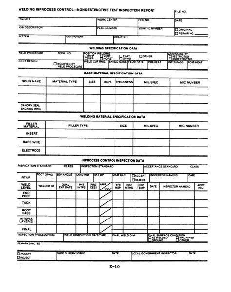 welding inspection report template home inspection report