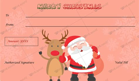 christmas printable voucher templates christmas gift certificate templates for word editable