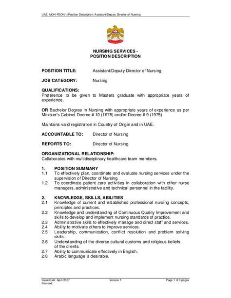 director of nursing description assistant deputy director of nursing moh