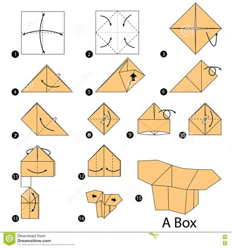 How To Make A Origami Paper Box - step by step how to make origami a box stock