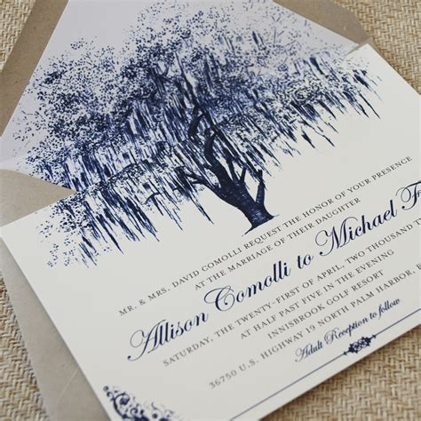 Oak Tree With Filigree Details Wedding Invitation Vintage Blue Tree Wedding Invitations Templates