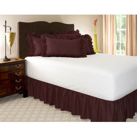 size bed skirt solid ruffled bed skirt 18 quot drop length dust ruffle ebay