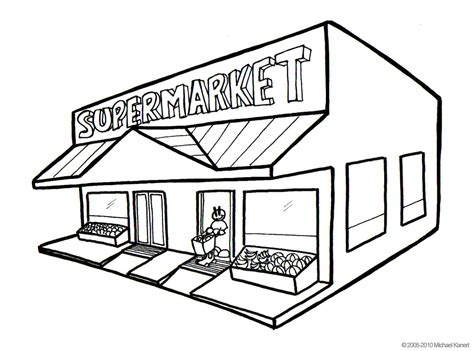 free coloring pages of supermarket building
